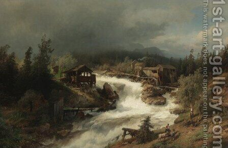 Spring at the Mill by Herman Herzog - Reproduction Oil Painting