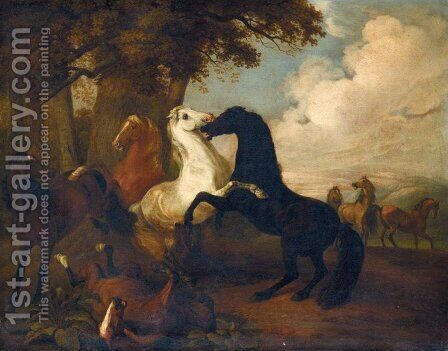 Thoroughbreds at Play (Spielende Vollbluter) by Albrecht Adam - Reproduction Oil Painting