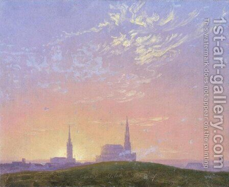 Evening: Sunset behind Dresden's Hofkirche (Abend: Sonnenuntergang hinter der Dresdener Hofkirche) by Caspar David Friedrich - Reproduction Oil Painting