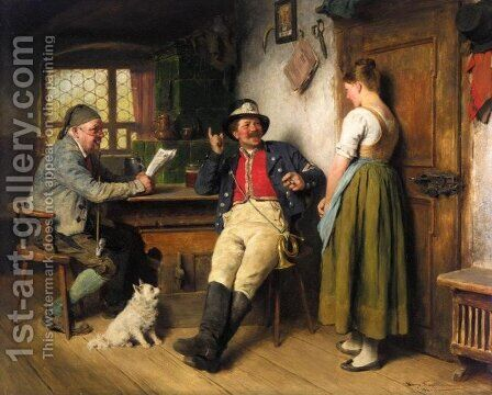 Messenger's Story (Postillon in der Wirtsstube) by Hugo Kauffmann - Reproduction Oil Painting