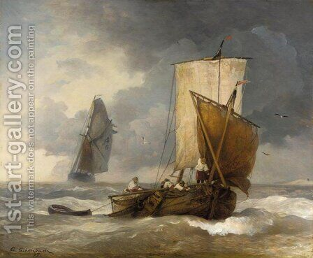 Fishing Boats in Stormy Seas (Fischkutter auf sturmischer See) I by Andreas Achenbach - Reproduction Oil Painting