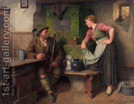 Gossiping by the Stove (Bursch und Madel am Ofen) by Hugo Kauffmann - Reproduction Oil Painting