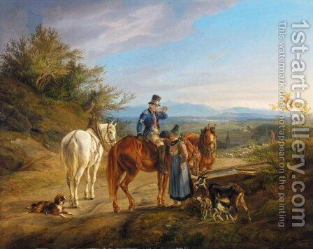 Halt on a Country Road (Rastender Reiter) by Albrecht Adam - Reproduction Oil Painting