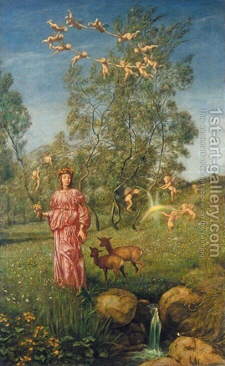 Allegory of Springtime (Fruhlingsmarchen) by Hans Thoma - Reproduction Oil Painting