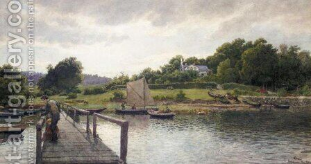 Fishing at Solvkronen (Fisking ved Solvkronen) by Hans Fredrik Gude - Reproduction Oil Painting