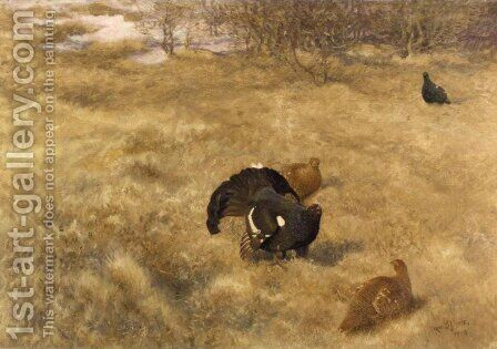 Ladskap Med Tjader (Capercaillie) by Bruno Andreas Liljefors - Reproduction Oil Painting