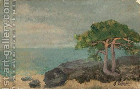 Beach at Kymmendo I (Strandparti, Kymmendo, I) by August Strindberg - Reproduction Oil Painting