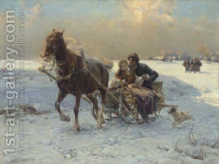 Sleigh Ride I by Alfred Wierusz-Kowalski - Reproduction Oil Painting
