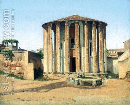 Temple of Vesta, Rome (Vestatemplet i Rom) by Christoffer Wilhelm Eckersberg - Reproduction Oil Painting