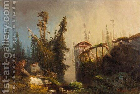 Gammelt Kvernhus by August Cappelen - Reproduction Oil Painting
