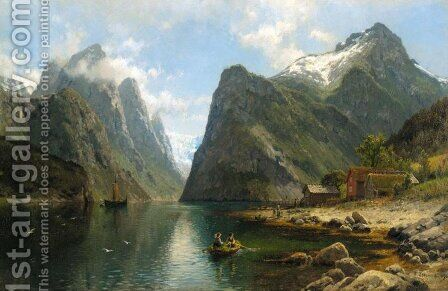 Fjord View (Fjordlandskap) by Anders Monsen Askevold - Reproduction Oil Painting