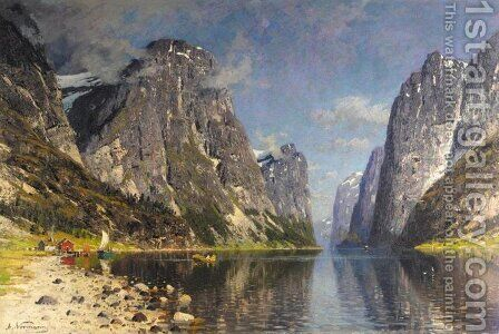 Boats in a Fjord (Bater pa fjorden) by Adelsteen Normann - Reproduction Oil Painting