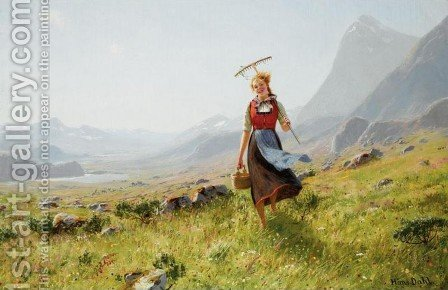Returning from the Fields (Tilbake fra marken) by Hans Dahl - Reproduction Oil Painting