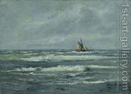 Coastal landscape with sailing boat by Holger Drachmann - Reproduction Oil Painting