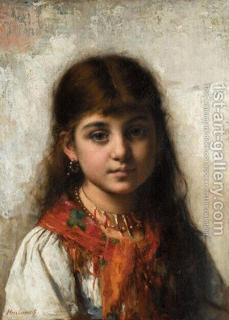 Girl with Coral Necklace and Shawl by Alexei Alexeivich Harlamoff - Reproduction Oil Painting