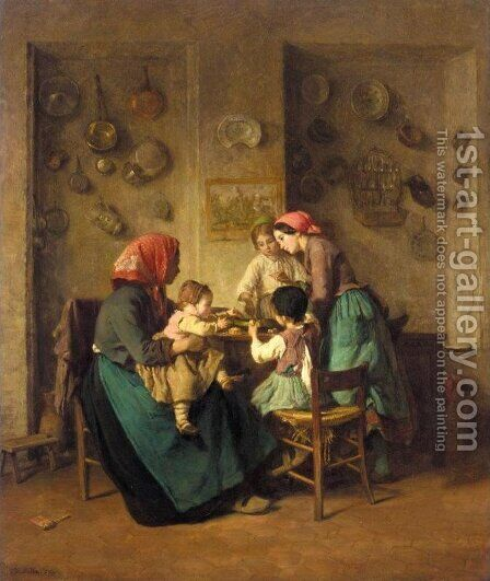 Le repas du matin by Charles-Edouard Frere - Reproduction Oil Painting