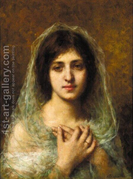 Portrait of a Young Girl 2 by Alexei Alexeivich Harlamoff - Reproduction Oil Painting