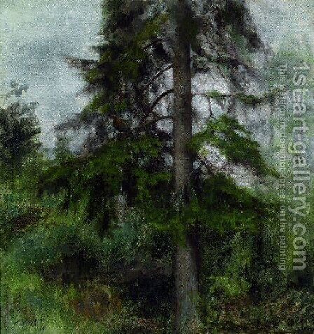 Greyhen in Firs (Orrhona i gran) by Bruno Andreas Liljefors - Reproduction Oil Painting