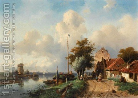 River Landscape by Charles Henri Leickert - Reproduction Oil Painting