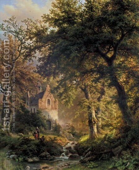 Forest Interior by Barend Cornelis Koekkoek - Reproduction Oil Painting