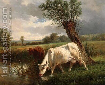 Cows by Aleksander Raczynski - Reproduction Oil Painting