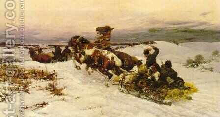 Return from the Hunt by Bodhan Von Kleczynski - Reproduction Oil Painting