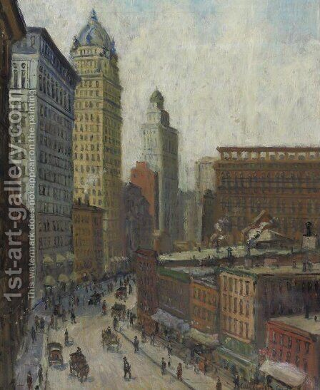Lower Broadway by Colin Campbell Cooper - Reproduction Oil Painting