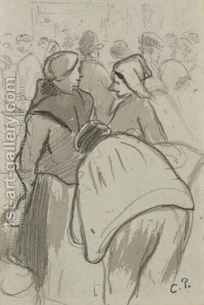 La Conversation by Camille Pissarro - Reproduction Oil Painting