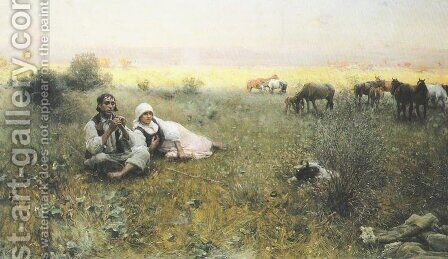 Shepherd's Tune by Alfred Wierusz-Kowalski - Reproduction Oil Painting