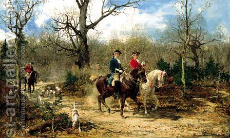 Autumn Ride by Alfred Wierusz-Kowalski - Reproduction Oil Painting