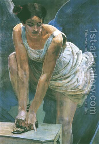 Nike Tying Her Sandal by Jacek Malczewski - Reproduction Oil Painting