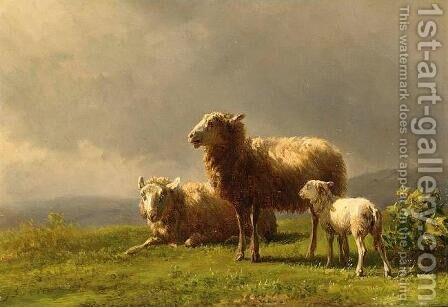 Sheep in a Meadow by Jan Bedijs Tom - Reproduction Oil Painting