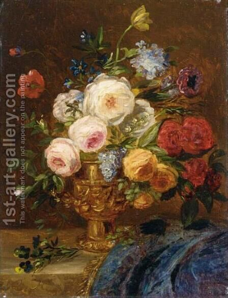 Still Life with Flowers in a Golden Vase by Adriana-Johanna Haanen - Reproduction Oil Painting