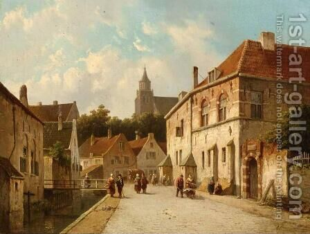 Figures Along a Canal in a Dutch Town by Adrianus Eversen - Reproduction Oil Painting