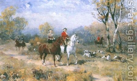 Departure for the Hunt by Alfred Wierusz-Kowalski - Reproduction Oil Painting