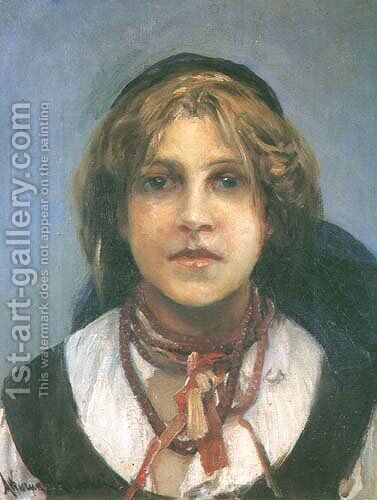 Girl in a Folk Costume by Alfred Wierusz-Kowalski - Reproduction Oil Painting
