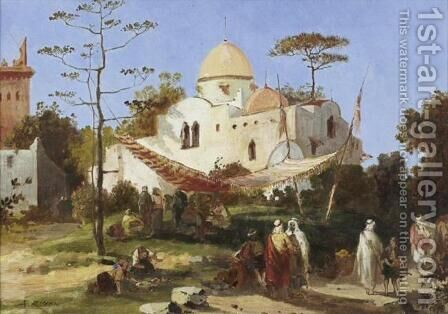 Resting by the Mosk (Repos pres de la mosquee) by Auguste Rigon - Reproduction Oil Painting
