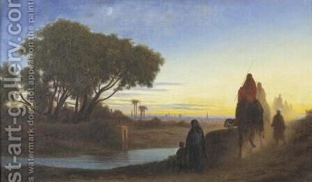 Caravan, Sunset (Caravane au crepuscule) by Charles-Theodore Frere - Reproduction Oil Painting