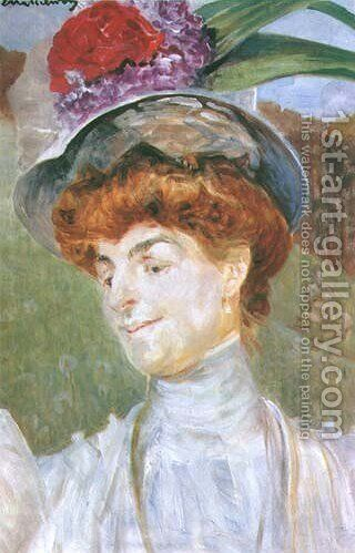 Portrait of a Lady in a Hat by Jacek Malczewski - Reproduction Oil Painting