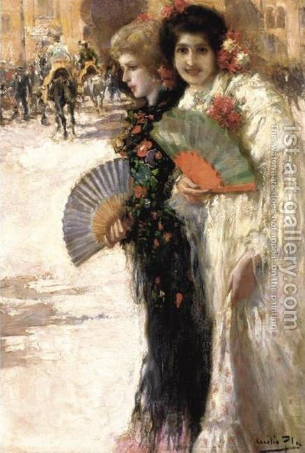 Off to the Bullfight (A los toros) by Cecilio Pla - Reproduction Oil Painting