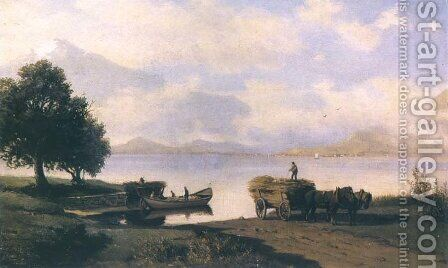 On the Bank of a Lake by Hans Schleich - Reproduction Oil Painting