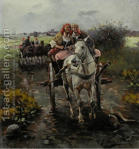 Joyful Ride by J. Konarski - Reproduction Oil Painting