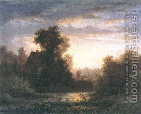 Evening Landscape by Hermann Brinckmann - Reproduction Oil Painting