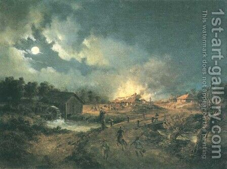 Village on Fire - Episode of the 1863 Insurrection by Adam Wiktor Malinowski - Reproduction Oil Painting