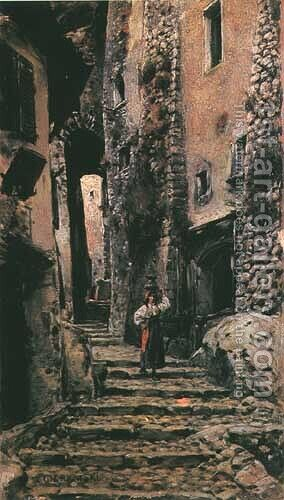 Street in Cervara by Aleksander Gierymski - Reproduction Oil Painting