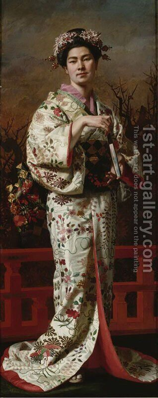 Portrait of Geisha by Andrzej Jerzy de Mniszech - Reproduction Oil Painting