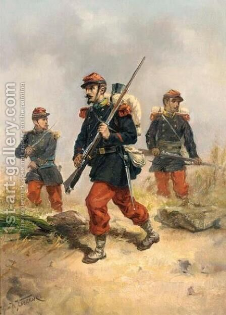 Soldiers in a Field by Hermanus Willem Koekkoek - Reproduction Oil Painting