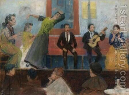 Scene from the Imperial Cafe, Madrid (Cafe Cantante, Madrid) by Dario de Regoyos y Valdes - Reproduction Oil Painting