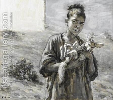 Young Boy with a Fennec (Jeune garcon au fennec) by Alphonse Etienne Dinet - Reproduction Oil Painting