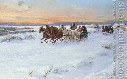 Sledge Ride by Alfred Wierusz-Kowalski - Reproduction Oil Painting